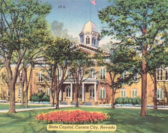 Carson City, Nevada, State Capitol - Linen Postcard - Vintage Postcard - Unused (Q)