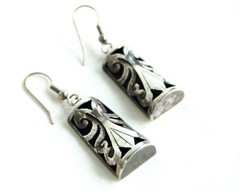 Mexican Dangle Earrings Sterling Silver Scroll Dangles Vintage Boho Column Earring Colonial Style