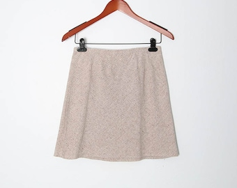 Vintage80s NOS Tweed Tan Mini Skirt