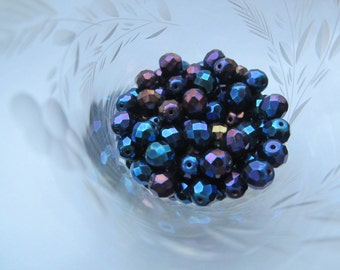 Czech Preciosa Faceted 6mm Blue Iris Beads 25Pcs.