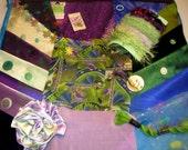 PURPLE & GREEN  Inspiration Kit - Vintage Embellishments, Lace, Buttons, Trims, Kensitas Silk Flowers