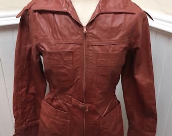 Vintage 1970s Maroon Leather Jacket- S
