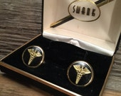 Swank Gold and Black Enamel Cufflinks - Perfect for Doctors and Medical Students