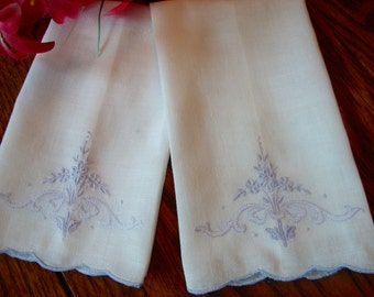 "Vintage Finger Towels Blue Embroidered Tiny Tea Towels Set of Two 8"" x 13"""