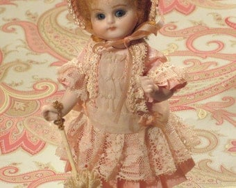 "Mignonette Antique Style French Doll 5.5"" Tall"