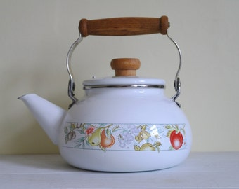 Vintage Enamel Floral Stove Kettle with Wooden Handle