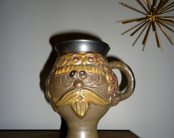 1971 B. Welsh Stoneware Footed Mug with Bearded Face
