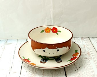 Interpur Korean Stoneware Childs Bowl and Plate, Cute Children's Cereal Bowl, Child's Soup Bow