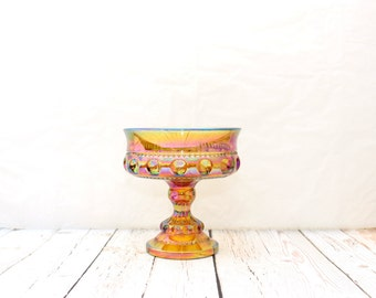Gold iridescent Carnival Glass, Carnival Glass Footed Compote, Carnival Glass Compote, Carnival Glass Candy Dish, King's Crown Thumbprint