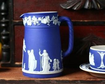 Wedgwood cobalt blue jasperware, porcelain pitcher