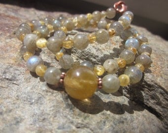 rutilated Quartz and Labradorite Necklace: smart