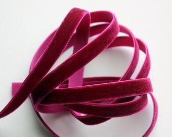 """3/8"""" Velvet Ribbon - Magenta - 5 yards"""