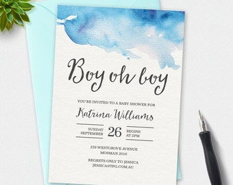 Boy Baby shower invitation, Boy oh Boy,  watercolor Invitation, custom invitation, printable invitation, 4x6, 5x7, elegant invitation
