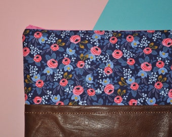 Navy Floral Clutch - Les Fleurs Day to Night Clutch - Leather Zip Pouch - Rifle Fabric Purse - Gift for Her - Bridesmaid Gift