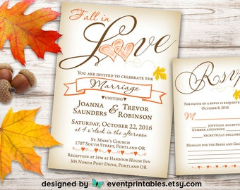 Fall Wedding Invitation and RSVP Card, Love, Heart, Leaf, Autumn, Orange, Yellow, Brown, Rustic, Printable DIGITAL FILE by Event Printables