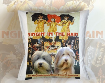 Bearded Collie Art Pillow Case Throw Pillow - Singin' in the Rain Movie Poster  Perfect DOG LOVER Gift for Her Gift for Him
