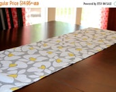SALE Floral Table Runner- Premier Prints Grey Yellow Helen- All Sizes- Wedding Party, Reception, Dinner Events- Table Cloth- Dining Room
