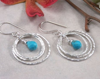 Turquoise & Sterling Silver Circle Dangle Earrings