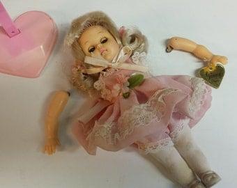 1980's Ginny Vogue Doll Pink Dress Original Stand