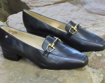 80s Etienne Aigner Leather Loafers - Classic Pump Heeled Loafer - Made in Spain - Women's Size 7.5 M