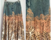 Denim skirt with animal print size large