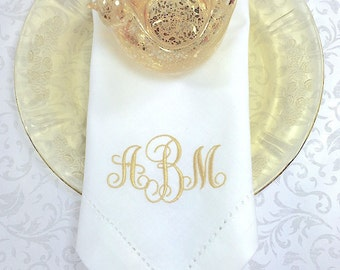 monogrammed embroidered cloth napkins lucy scroll / set of 4 /
