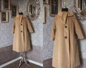 Vintage 1960's Lilli Ann Camel Hair Winter Swing Coat with Cowl Collar  M/L