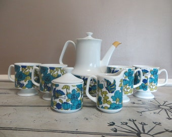 Mod Floral Coffee Pot with Coffee Cups Cream and Sugar Floral Tea Set Mid Century Wedding Gift Blue and Green Butterfly Mod Coffee Set