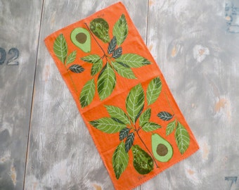 Vintage Vera Neumann Dish Towel Orange Avocado Green Leaves Towel Kitchen Towel Tea Towel Retro Kitchen Towel