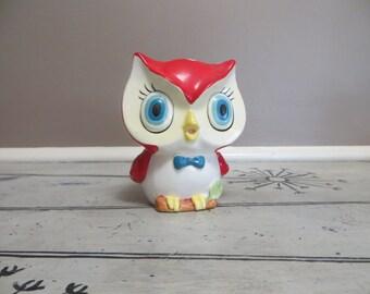 Vintage Red Owl Planter Big Eyed Owl Porcelain Planter Owl Storage Container Retro Owl Modern Owl