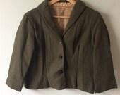 1960s Khaki Cropped Coat - 1960s Peacoat Green