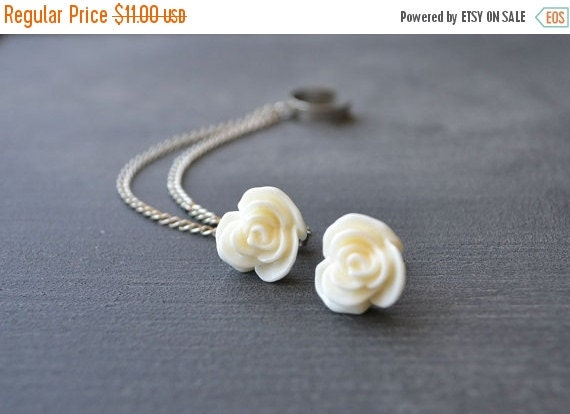 VALENTINES DAY SALE Antiqued Cream Rose Double Chain Ear Cuff (Pair)