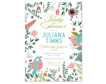 Sweet Baby Shower Invitation, Birds, Neutral for Boy or Girl, Baby Shower Invite, Sprinkle, Sip and See, Garden Party