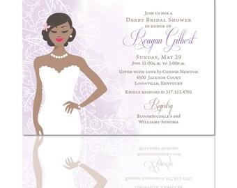 Bridal Shower Invitations, Silhouette Invitations, Wedding, Dress, Bridal, Navy, Coral, Custom, Printable