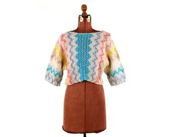 Vintage 1970's Pastel Rainbow Cotton Sheer Crochet Knit Mini Dolman Sleeve Crop Top Sweater M