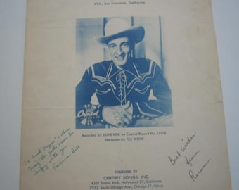 Vintage  Sheet Music The Gods Were Angry With Me  Signed by Foreman Bill & Roma  1948