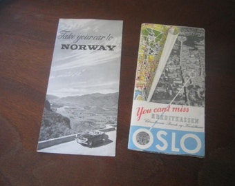 Brochures 1957 Norway Take your car to Norway, OSLO map 1957