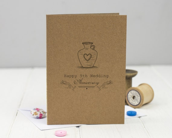 9th Wedding Anniversary Traditional Gift: 9th Wedding Anniversary Card Pottery Ninth Anniversary
