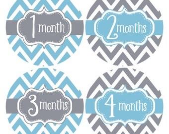Baby Boy Month Stickers, Monthly Newborn Stickers,  Milestone Stickers,  Bodysuit Stickers, Baby Age Stickers, Baby Growth Stickers (570)
