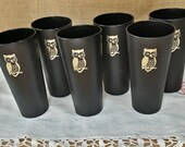 Set of SIX 1970's Plastic Cups with Owls - Tumblers Never Used - retro funky groovy - Nasco