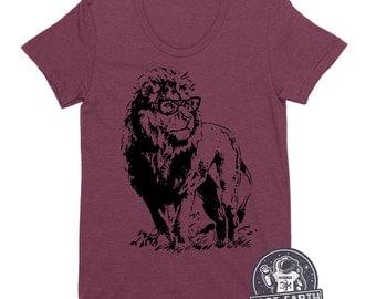 Lion Professor Funny Animal Humor Geeky Geek Nerdy Shirt T-Shirt Gift Idea For Teacher Wife Men Ladies Soft Vintage Tees Present Graduation
