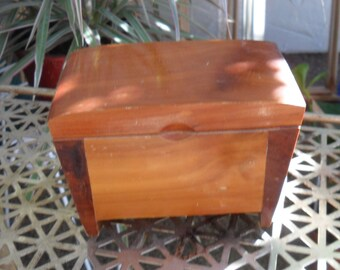 Vintage Cedar Wooden Souvenir Box Trinket Jewelry Box
