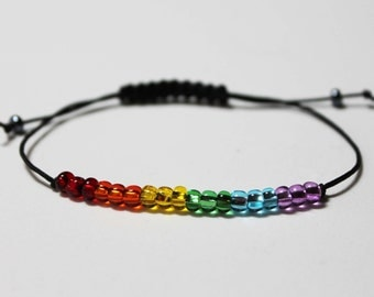 LGBT Rainbow Bracelet Minimalist Beaded Simple Gay Lesbian Pride