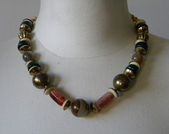 1970s Multi-Color Agate Carved Bone Brass Bead Choker Necklace Hippie Boho Retro Style