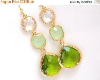 SALE Green Earrings, MInt Earrings, Clear, Crystal, Green Apple, Gold Earrings, Bridesmaid Jewelry, Bridesmaid Earrings, Bridesmaid Gifts