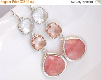 SALE Peach Earrings, Coral, Champagne, Crystal, Clear, Silver Earrings, Bridesmaid Jewelry, Bridesmaid Earrings, Bridal Jewelry, Bridesmaid