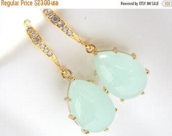 SALE Mint Earrings, Aqua Earrings, Light Green, Gold, Wedding Jewelry, Cubic Zirconia, Bridesmaid Earrings, Bridal Earrings, Bridesmaid Gift