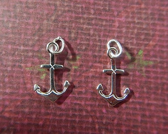 One Pair Anchors Small Sterling Silver Charms Drops with Sterling Silver Jump Ring Nautical Jewelry