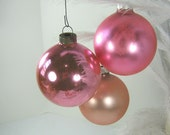 Vintage MERCURY GLASS ORNAMENTS Soft Pink Set/6 Christmas Tree