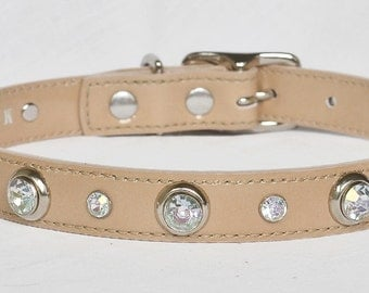 Beige Patent Leather Dog Collar, Tan Leather dog collar, Custom Leather Dog Collar, Size Small to Large.